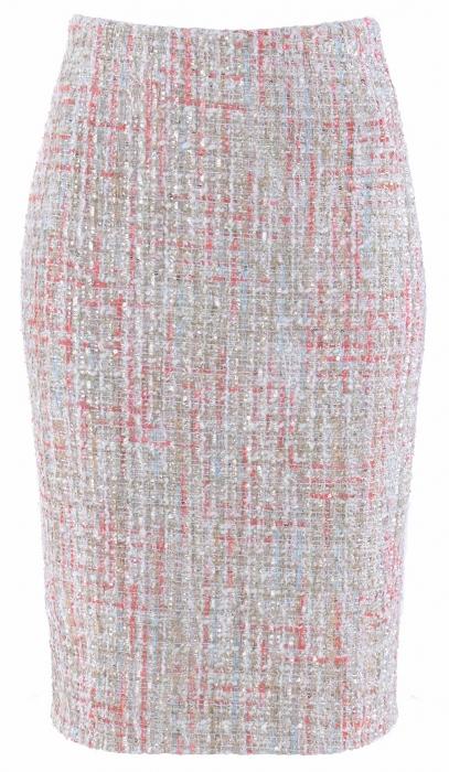Ołówkowa spódnica z żakardowej tkaniny Wiosna Lato 2017